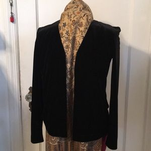 Black  Simple Stretch Velvet Jacket